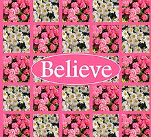 WHITE AND PINK FLORAL BELIEVE DESIGN by JLPOriginals