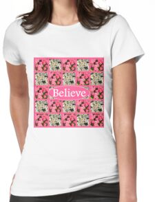 WHITE AND PINK FLORAL BELIEVE DESIGN Womens Fitted T-Shirt