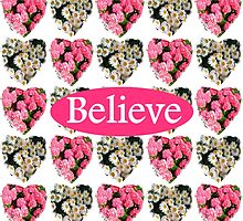 ROMANTIC WHITE AND PINK FLORAL BELIEVE DESIGN by JLPOriginals
