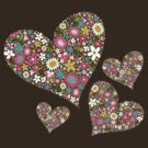 Whimsical Spring Flowers Pink Valentine Hearts by fatfatin