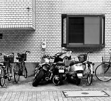 Two wheel dominos, Tokyo, Japan by Norman Repacholi