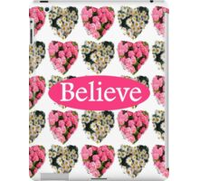 ROMANTIC WHITE AND PINK FLORAL BELIEVE DESIGN iPad Case/Skin