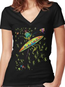Alien Landing Women's Fitted V-Neck T-Shirt