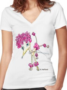 Pink Poodle Women's Fitted V-Neck T-Shirt