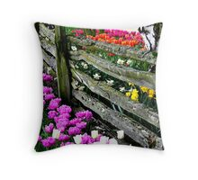 Tulip Fence Throw Pillow