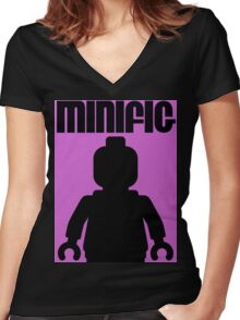 Retro Large Black Minifig Women's Fitted V-Neck T-Shirt