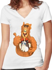 ALF Grumpy Cat  Women's Fitted V-Neck T-Shirt