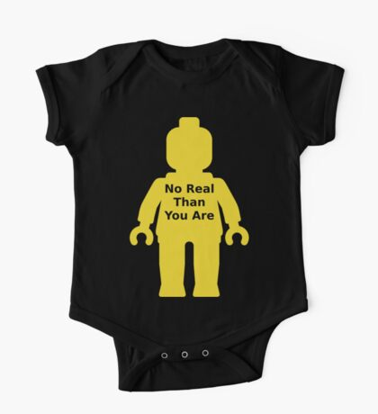 Minifig with 'No Real Than You Are' Slogan One Piece - Short Sleeve
