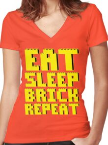 EAT, SLEEP, BRICK, REPEAT Women's Fitted V-Neck T-Shirt