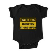 Caution Minifigs in the Area Sign One Piece - Short Sleeve