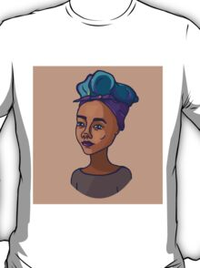 Girl with bright hair | one-color backgroung T-Shirt