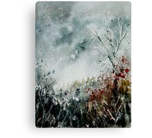 snowy landscape watercolor Canvas Print