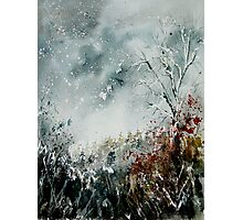 snowy landscape watercolor Photographic Print