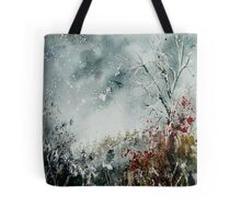 snowy landscape watercolor Tote Bag