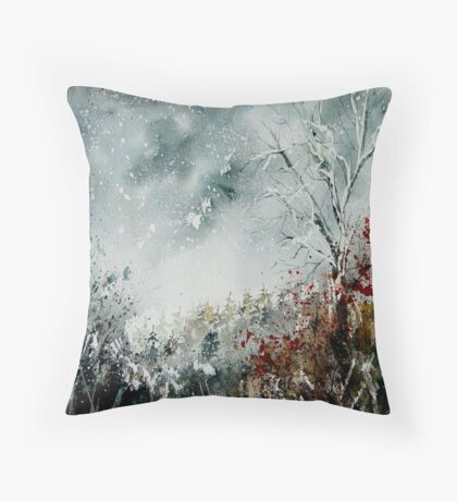 snowy landscape watercolor Throw Pillow