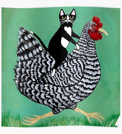 Cat Riding a Chicken Poster