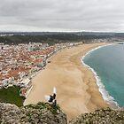 Winter Beach - Nazare Portugal from the Clifftop by Georgia Mizuleva
