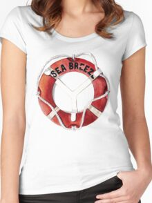 Seabreeze vintage life ring Women's Fitted Scoop T-Shirt