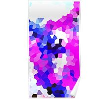 Mask Pink Abstract Pixel Digital Crystal Art Poster