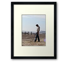Onlookers were delighted at Dave's new Inspector gadget metal detecting Third leg....Much fun was always had with his third leg on quiet evenings in. Framed Print