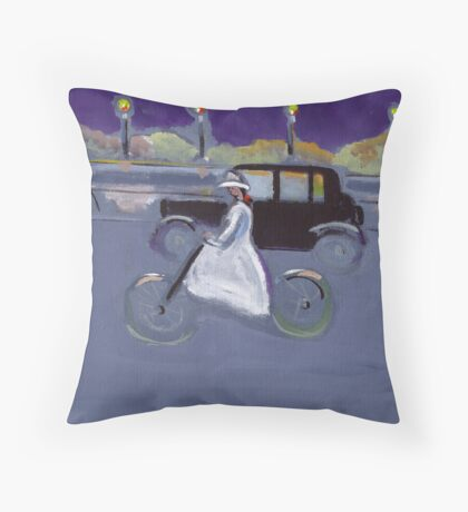 The cyclist (from my original acrylic painting) Throw Pillow