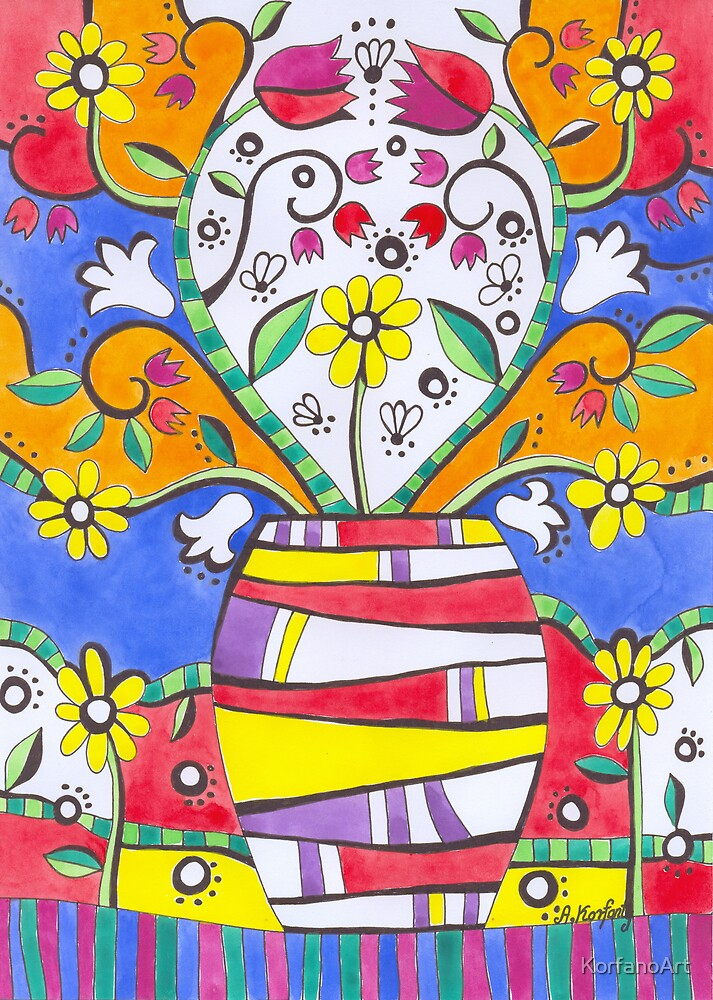 Folk tulips by KorfanoArt