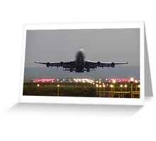 Virgin Atlantic 747 Head on Departure at Manchester Greeting Card
