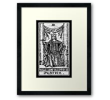 Justice Tarot Card - Major Arcana - fortune telling - occult Framed Print