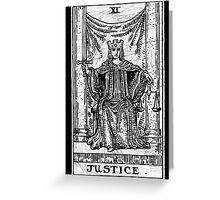 Justice Tarot Card - Major Arcana - fortune telling - occult Greeting Card