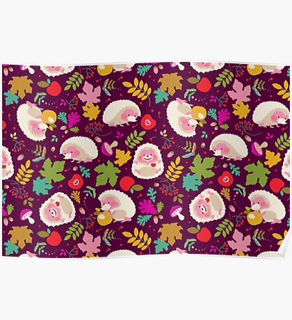 Cute White Hedgehogs in Purple  Background. Poster