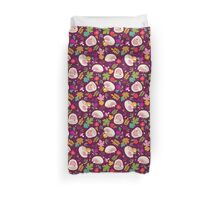 Cute White Hedgehogs in Purple  Background. Duvet Cover