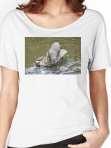 Otter by feeding pond at Escot Women's Relaxed Fit T-Shirt