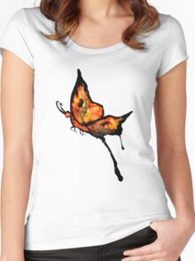 Watercolor Butterfly Women's Fitted Scoop T-Shirt