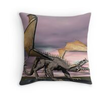 Old Gray Dragon Throw Pillow