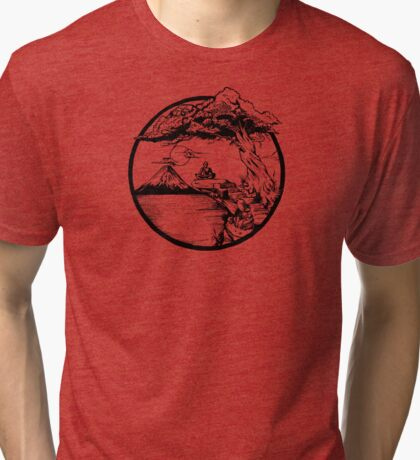 Meditation Zen Red Tri-blend T-Shirt