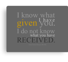 Given/Received Canvas Print