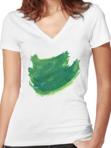 Green Painted Paper Women's Fitted V-Neck T-Shirt