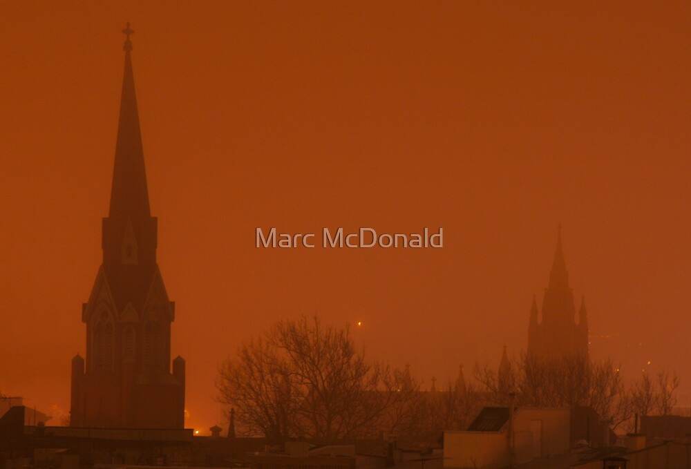 Foggy Night in Red by Marc McDonald