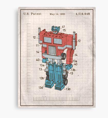 Optimus Prime Transformers Patent  Canvas Print