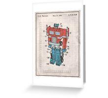 Optimus Prime Transformers Patent  Greeting Card