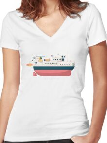 Minimalist Jacques Cousteau's Research Vessel Calypso Women's Fitted V-Neck T-Shirt