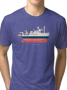 Minimalist Jacques Cousteau's Research Vessel Calypso Tri-blend T-Shirt