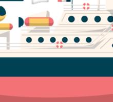 Minimalist Jacques Cousteau's Research Vessel Calypso Sticker