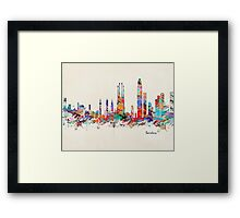 barcelona skyline watercolor Framed Print