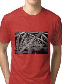 Steel Bridge in Black and White Tri-blend T-Shirt