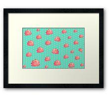 Chinoiserie Vintage floral print - roses on polka dots Framed Print