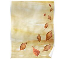 Autumn falling Gold leaves Poster