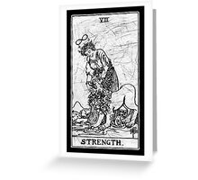 Strength Tarot Card - Major Arcana - fortune telling - occult Greeting Card