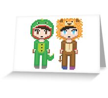 Pixel Amazingphil and Danisnotonfire Greeting Card