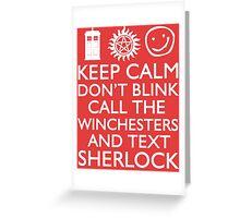 SUPERWHOLOCK SUPERNATURAL DOCTOR WHO SHERLOCK Greeting Card